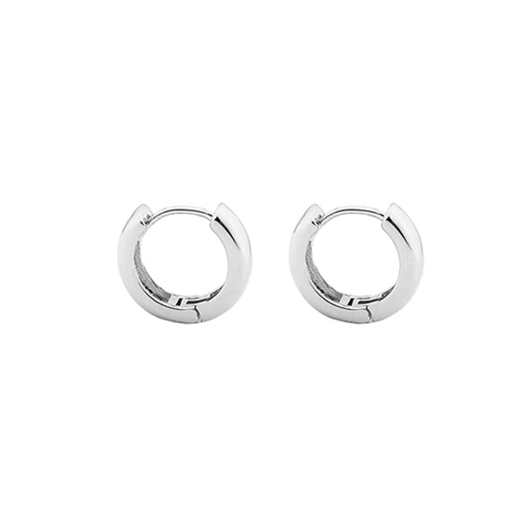 Chunky Huggie Hoops – Silver  Minimal Brass Hoop Earrings INT