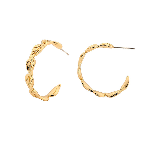 Leaf Hoop Earrings - 14ct Gold Plated Brass Earrings INT