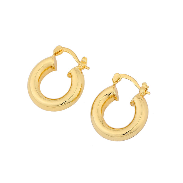 Chunky Huggie Hoops – 14ct Gold Plated Brass Hoop Earrings USA