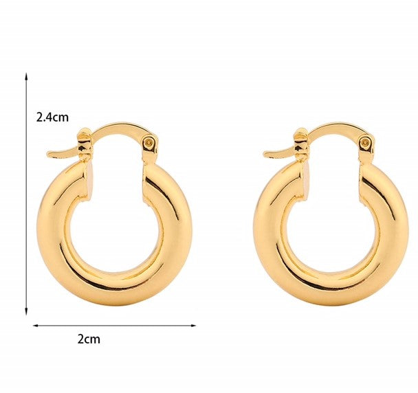 Chunky Huggie Hoops – 14ct Gold Plated Brass Hoop Earrings INT