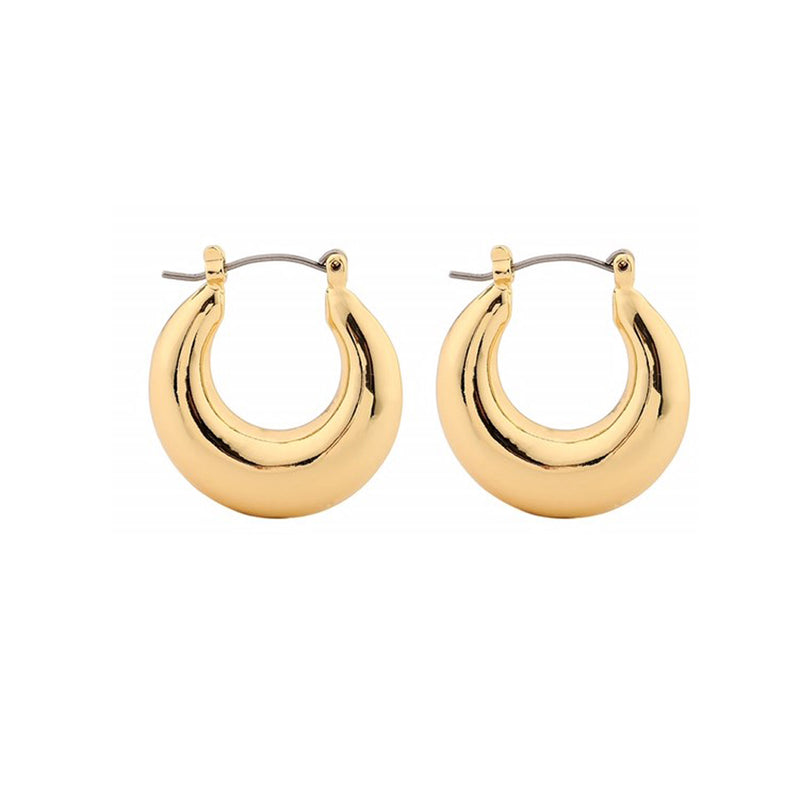Droplet Chunky Hoop Earrings – Gold Brass Hoops USA