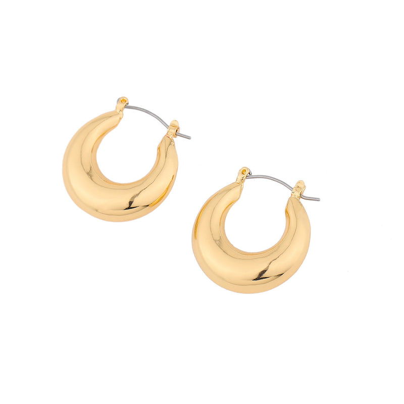 Droplet Chunky Hoop Earrings – Gold Brass Hoops INT
