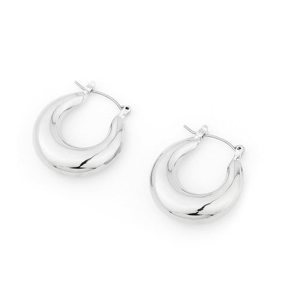 Droplet Chunky Hoop Earrings – Silver Brass Hoops INT