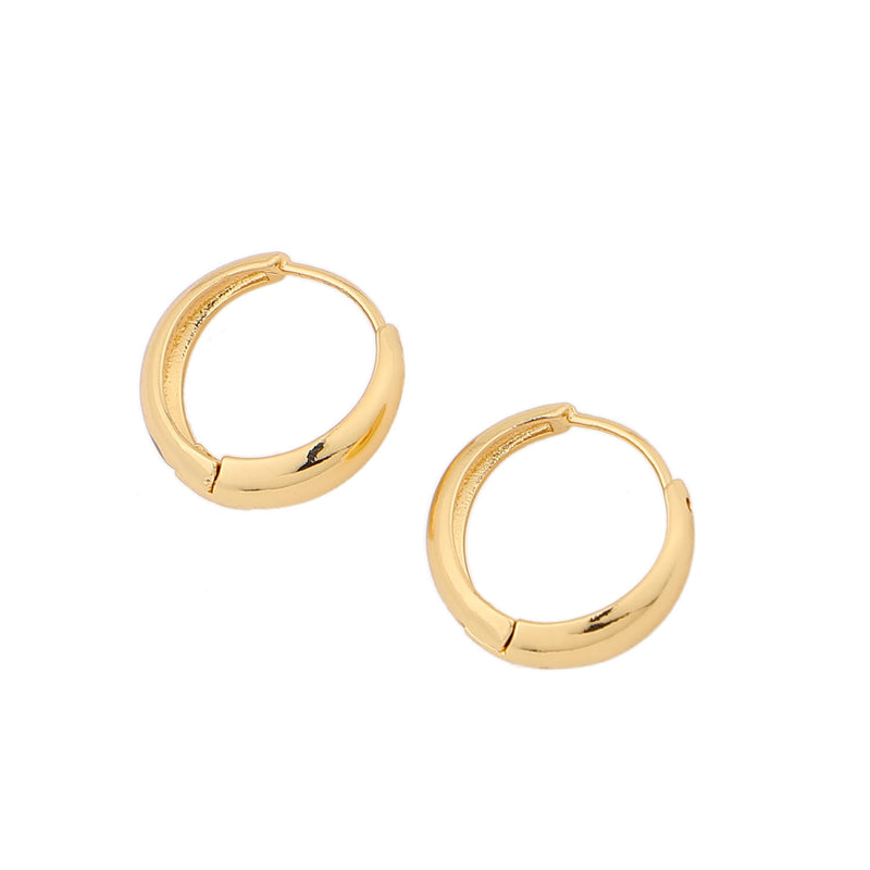 Chunky Huggie Hoops – Minimal Brass Hoop Earrings INT