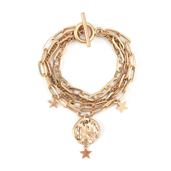 Allison Rose Atelier Multi Chain Link Charm Bracelet with Medallions and Stars