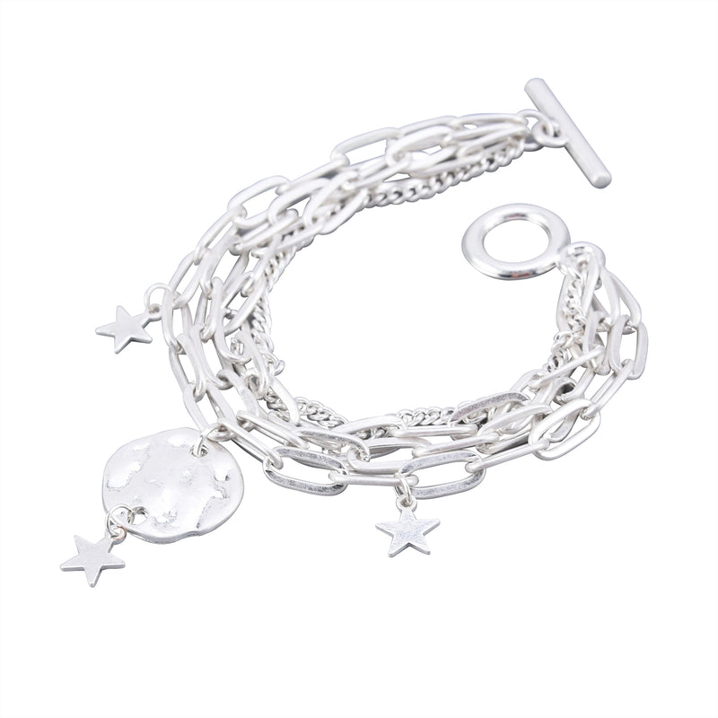 Chain Link Charm Bracelet with Medallions and Stars
