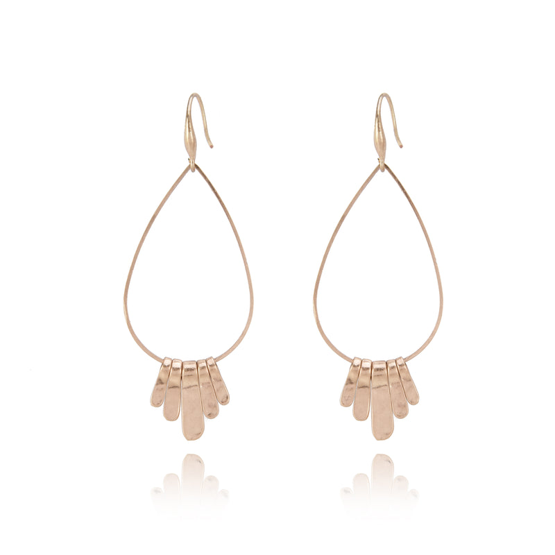 Allison Rose Atelier Worn Gold Plated Tear-drop Wire Hoop Earrings with Hammered Discs.