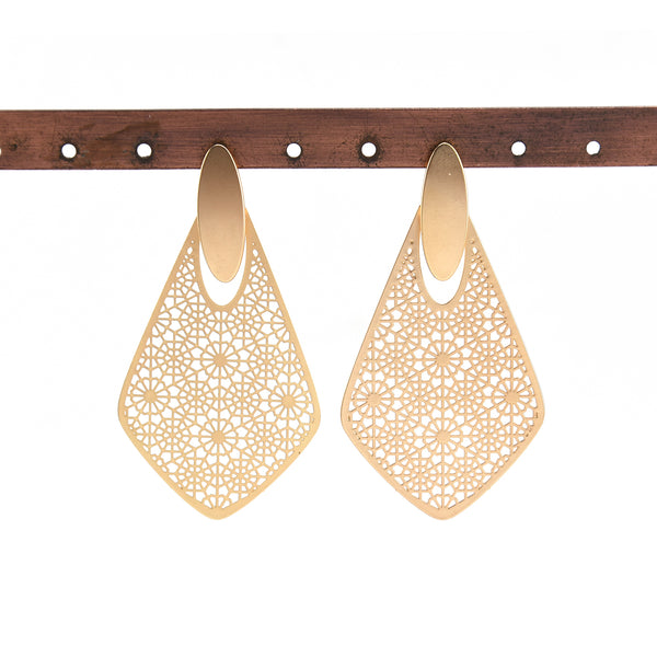 Allison Rose Atelier - Dangle Earrings Geometric Hollow Floral Statement Earrings