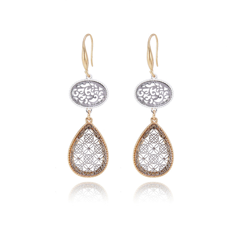 Two Tone Gold & Silver Plated Dangle-Drop Earrings – Filigree detailing