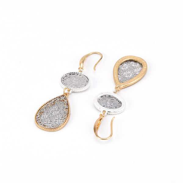 Allison Rose Atelier - Two Tone Gold & Silver Plated Dangle-Drop Earrings – Filigree detailing