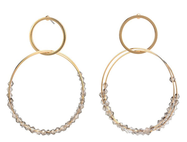 Hoop Dangle Gold Earrings - Grey Beading