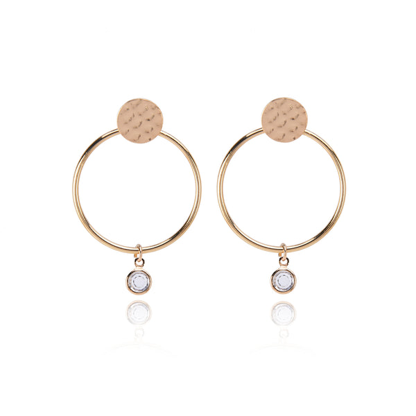 Hoop  Earrings – Hammered Disc Stud with Round Wire Hoop and Glass Beads . Two for One Style
