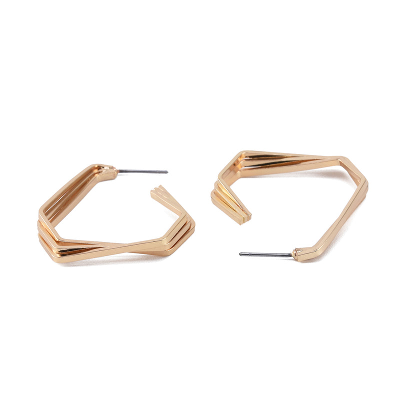 Triple Strand Geometric Hoop Earrings with Steel Posts
