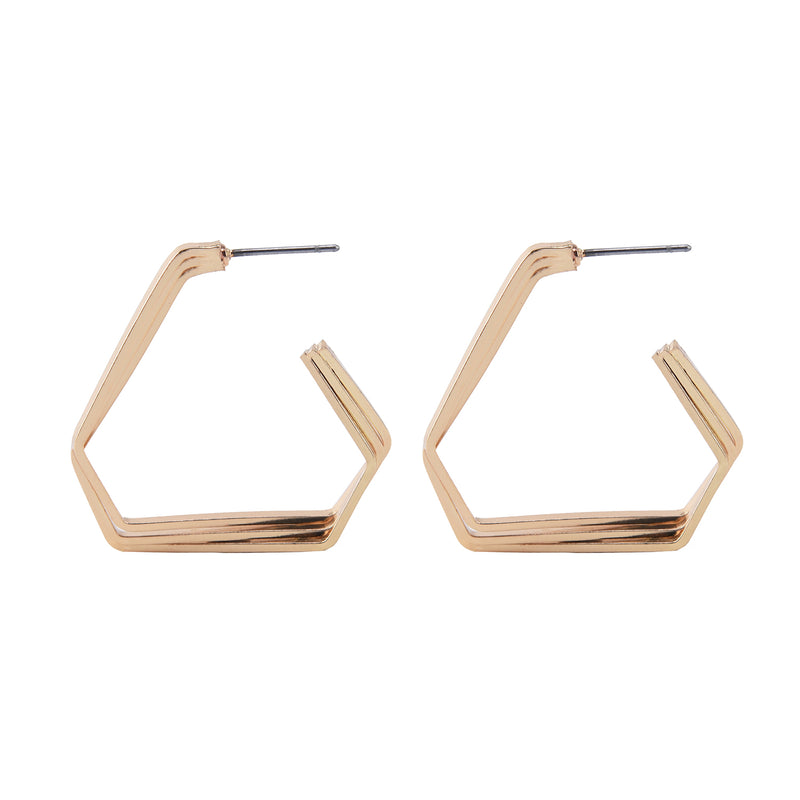 Allison Rose Atelier  - Triple Strand Geometric Hoop Earrings with Steel Posts