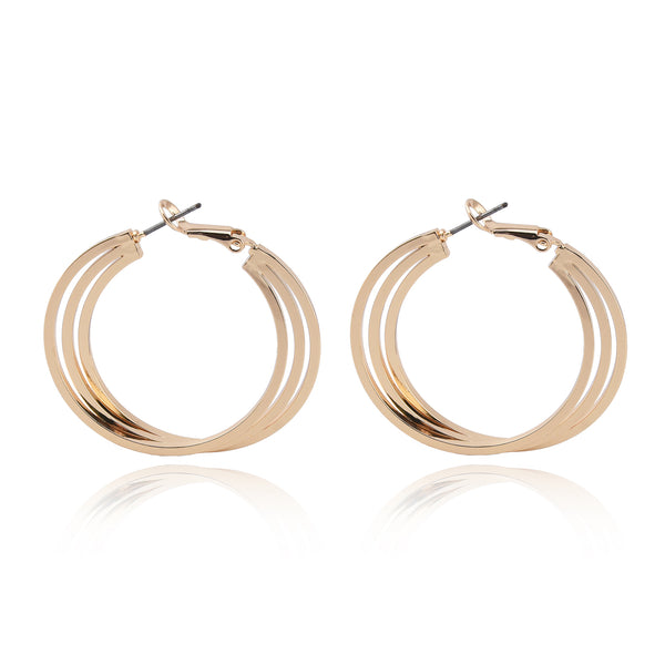 Hoop Earrings - Thin Round Triple Strands