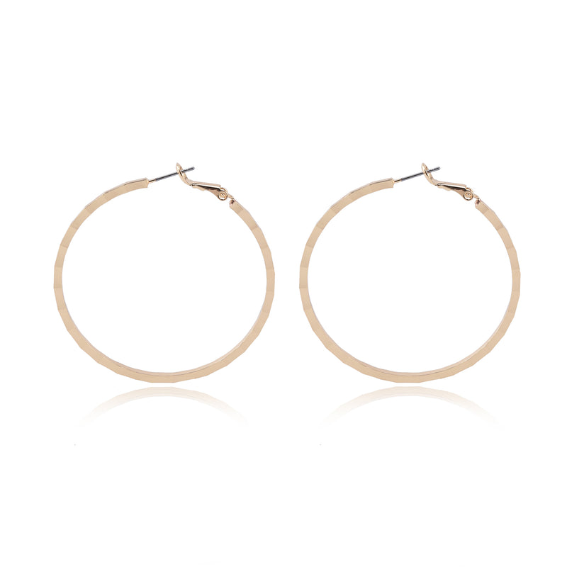 Round Hoop Earrings with Defined Square Edges and Steel Posts – Hammered Surface - Fashion Earrings