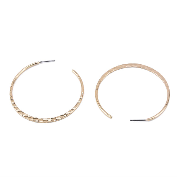 Hammered Thin Round Hoop Earrings