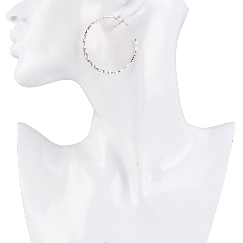 Allison Rose Atelier - Thin Round Hoop Earrings - Hammered Texture & Lightweight