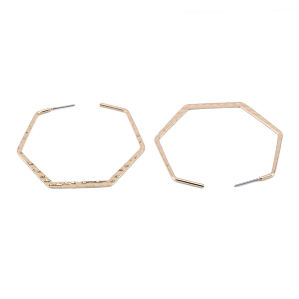 Hexagonal Hoop Earrings with Steel Posts – Hammered Surface – Lightweight  – Women Fashion Earrings