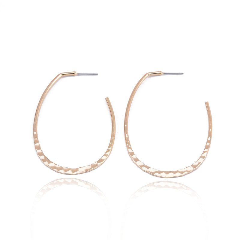 Allison Rose Atelier - Lightweight Oval Hoop Earrings - Hammered Texture