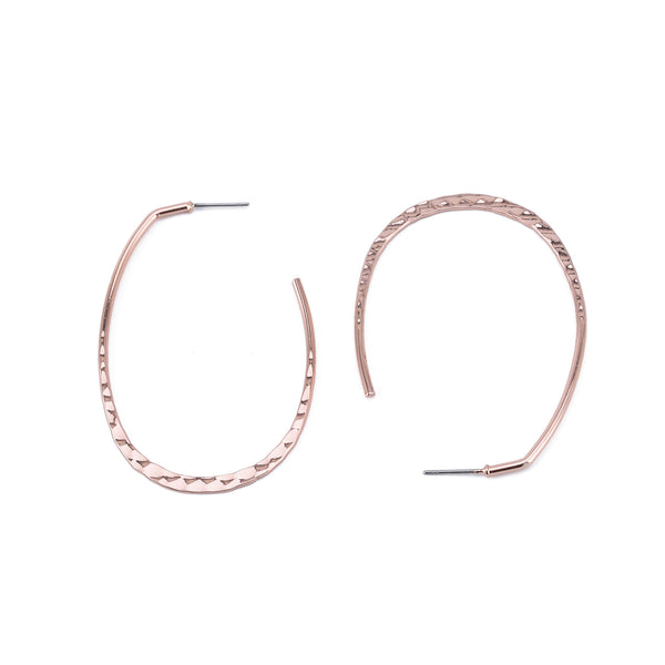 Hammered Thin Oval Hoop Earrings