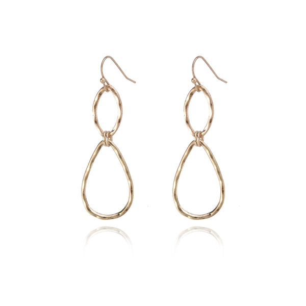 Dangle Link Earrings - Metal with Gold or Silver Plating. Women Fashion Earrings