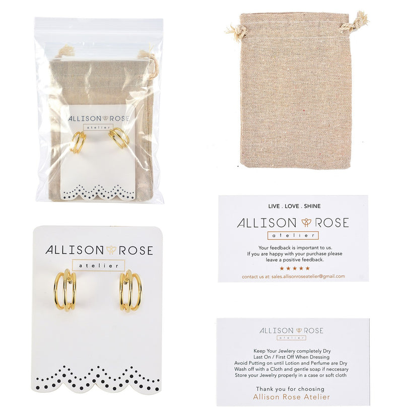 Allison Rose Atelier- New MINI Triple Strand Hoop Earrings with Gold or Rose gold Plating finish and Steel Posts