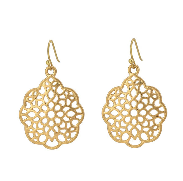Boho Round Filigree Pattern Drop Earrings- International