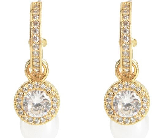 Allison Rose Atelier -3 PC Brass Cubic Zirconia Huggie with Detachable Medallion - Faux Pearl Drop Earrings