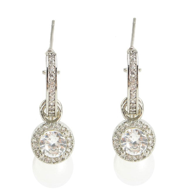 CZ Stone 3pc Huggie with Detachable Medallion - Faux Pearl Drop Earrings