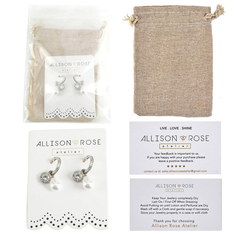 Allison Rose Atelier -3 pc Brass Cubic Zirconia Huggie with Add on Medallion, Faux Pearl Drop Earrings