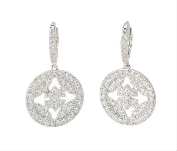 CZ Drop Hoop Earrings - Intricate Floral CZ Stones - International Shipping