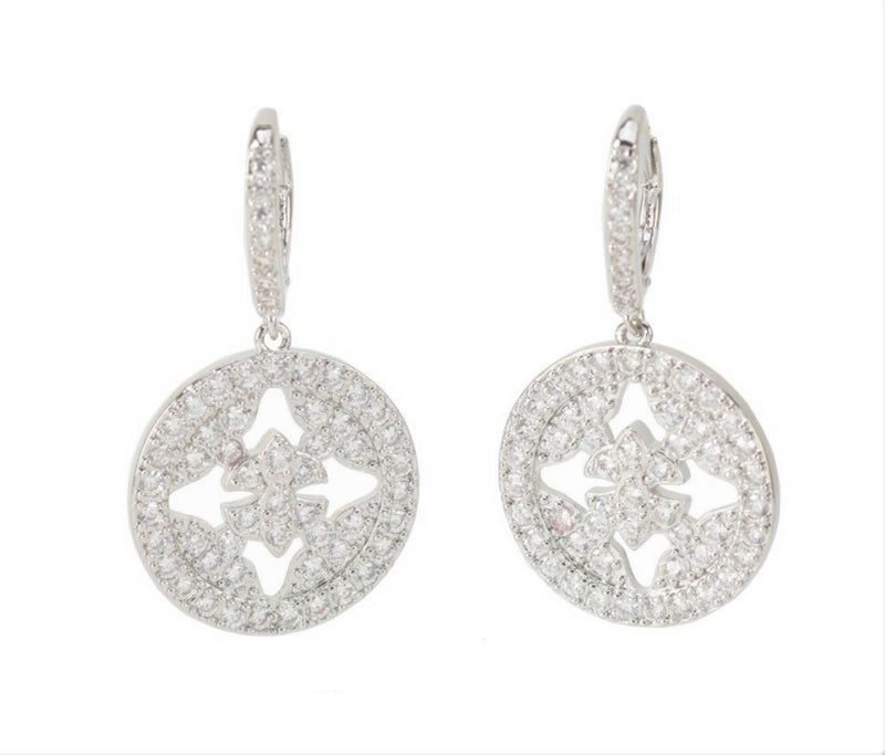 INTERNATIONAL SALES ONLY: Allison Rose Atelier - Duchess Drop Earrings - Intricate Floral CZ Stones in Brass Setting with Imitation Rhodium Plating