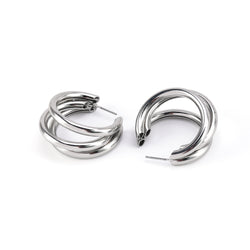 Allison Rose Atelier Chunky Triple Strand Hoop Earrings with Steel Posts