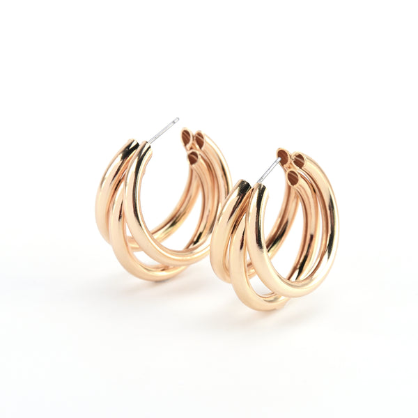 Chunky Split Bold Hoop Earrings with Steel Posts