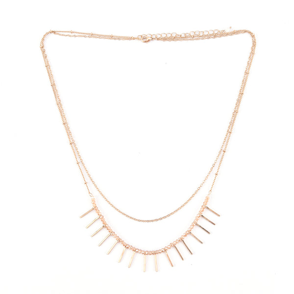 Allison Rose Atelier -Double Layer Chain Necklace with Glass beading and  Disc Embellishments