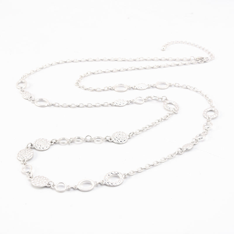 Allison Rose Atelier - Chain Necklace for Women – with Hammered disks with Extender. Perfect for Layering
