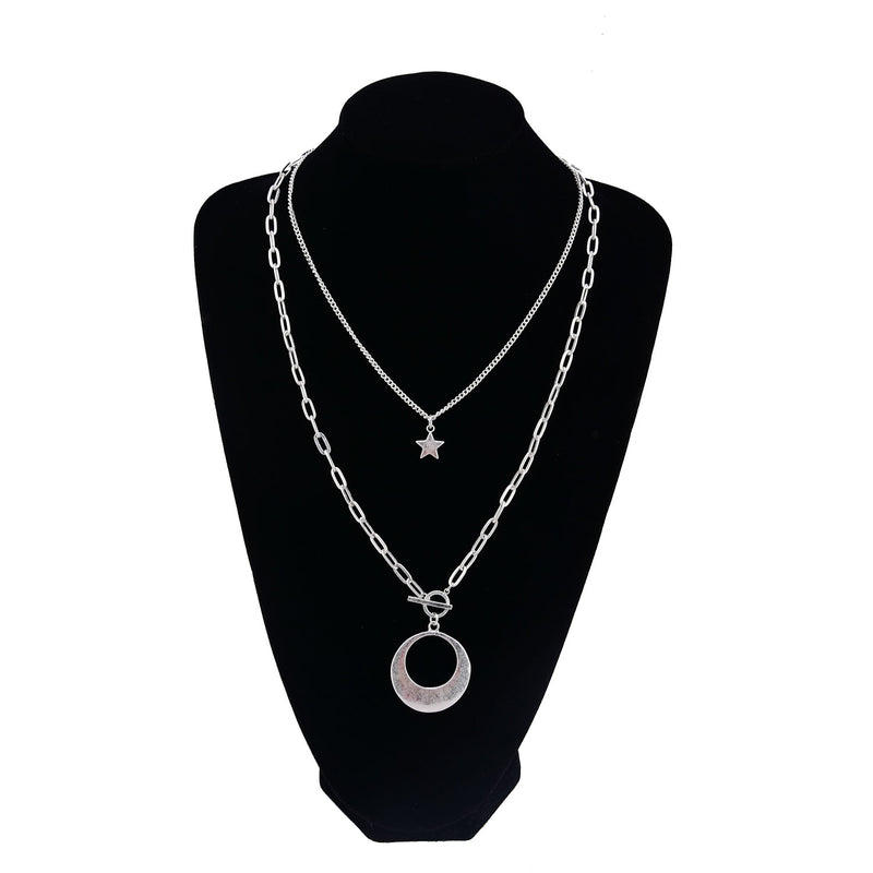 Multi Chain Link Charm Double Strand Necklace with Crescent Medallion and Stars. Fashion Jewelry
