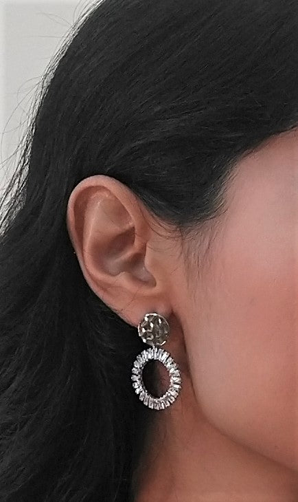 Hammered CZ Stud Brass Drop Hoop Earrings