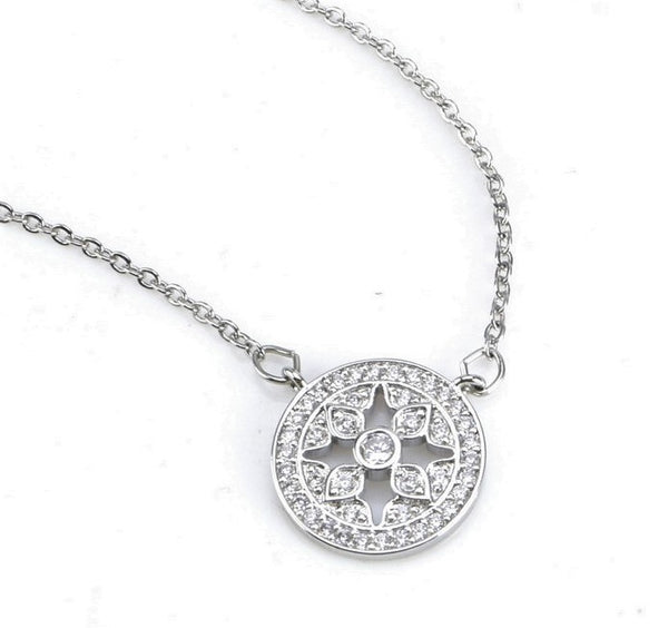 CZ Stone Brass Medallion  Necklace- International Shipping