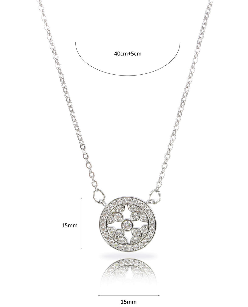 CZ Stone Brass Medallion Necklace