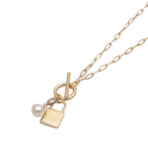 Layered Necklace - Dainty Pendant Padlock with Detachable Faux Pearl Charm