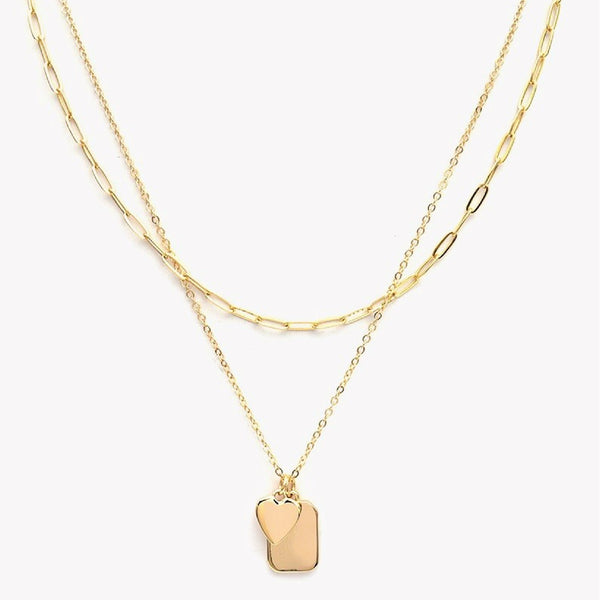 Layered Necklace - Dainty Pendant Heart and Dog Tag Charm Necklace