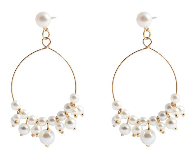 Allison Rose Atelier Faux Pearl Dangle Hoop Gold Earrings 18ct Gold Finish.