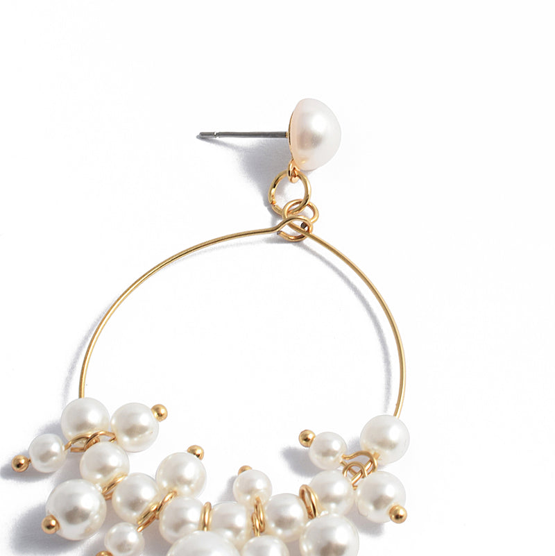 Pearl Dangle Gold Hoop Dangle Earrings