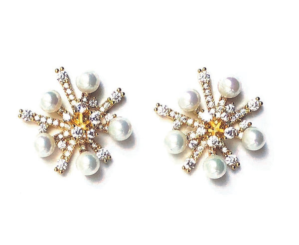 Gold Pearl and CZ Cluster Brass Vintage Stud Earrings