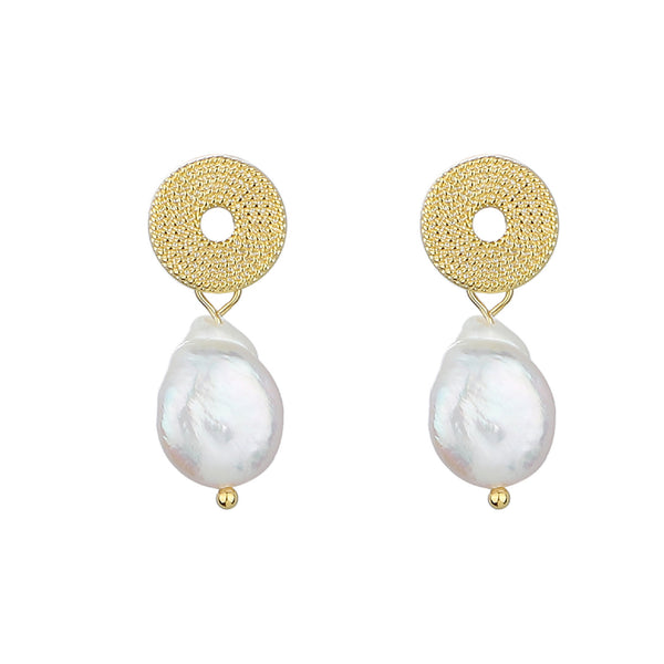Freshwater Pearl Drop Stud Earrings – Gold-Plated Circular Rope Stud Pearls  INT