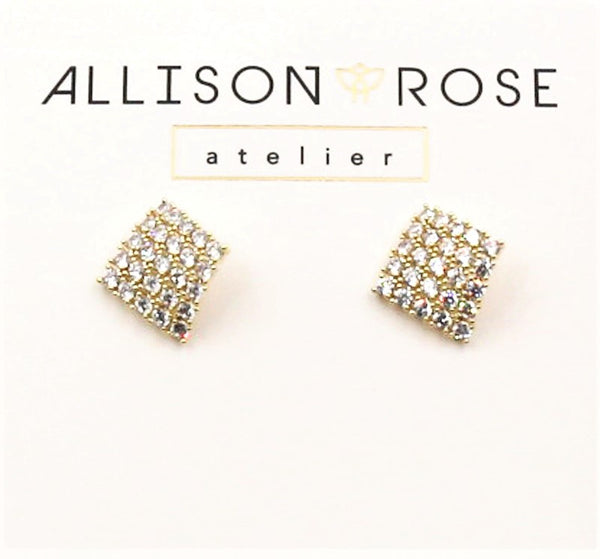 Allison Rose Atelier - Gold Plated Brass Stud Earrings with CZ Pave Stones