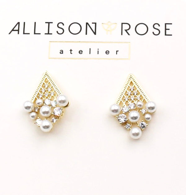 Allison Rose Atelier - Gold Plated  Brass Vintage Drop Stud Earrings - Limited Edition