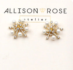 Allison Rose Atelier -INTERNATIONAL Pearl and CZ Cluster Brass Vintage Medium Stud Earrings
